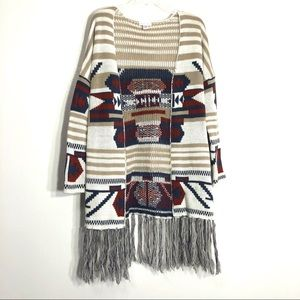 Full Tilt Boho Aztec Fringe Cardigan Knit Sweater